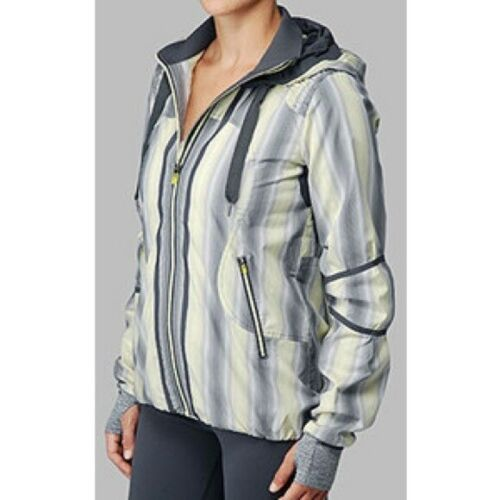 Lululemon Women Citron Yellow Gray Ombre Track and Field Hooded Jacket Size 12