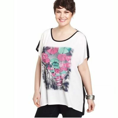 Style & Co Woman's Black/White/Pink Beach Umbrella Button Back T-shirt Size XL (Black Backed White Umbrella)