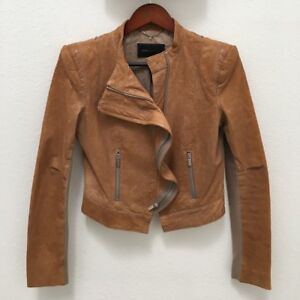 BCBG Brown Leather Jacket/ BCBG MaxAzria Manteau en Cuir Brun