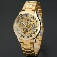 MENS MECHANICAL GOLD SKELETON AUTOMATIC SPORT WATCH