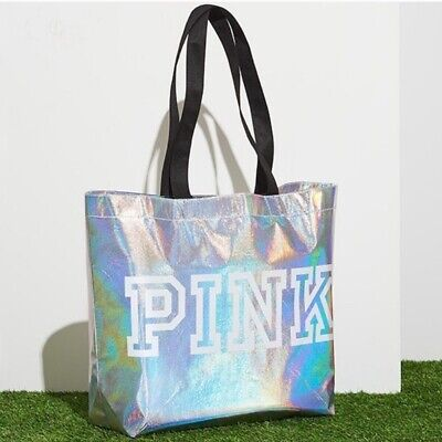 Cute Tote Bags (Victoria's Secret Pink Cute Reusable Tote Bag Lightweight Iridescent Silver,)