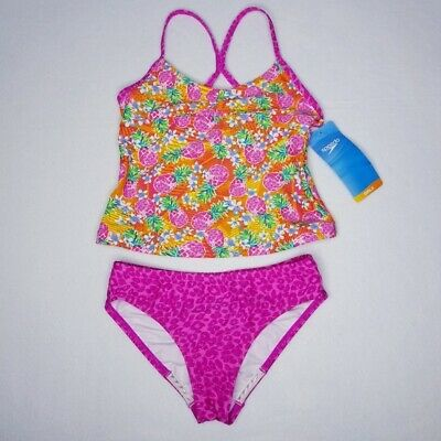 Speedo Girls' Pineapple Print Tankini Set Chlorine Resistant Fabric -Size (Chlorine Resistant Fabric)