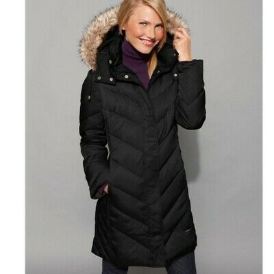Kenneth Cole Hooded Faux-Fur-Trim Down Chevron Puffer Coat, Black Size L