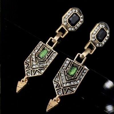 💎ART DECO NOUVEAU GREEN RHINESTONE ROMANTIC REVIVAL VINTAGE Style EARRINGS  Art Deco Rhinestone Earrings