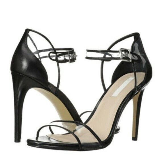 BCBG Jaklyn SZ 9.5 Black & Clear Sexy Heels with Ankle Strap