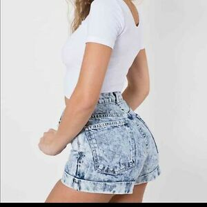 American Apparel High-Waist Cuff short Acid Wash !!