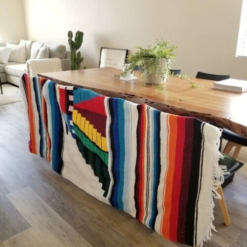 Colorful Mexican Aztec Ethnic Hand Woven Rug Blanket