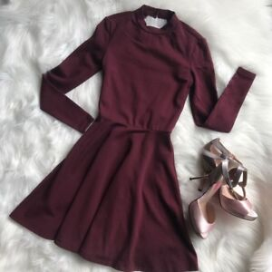 American Apparel open back fit and flare dress in burgundy