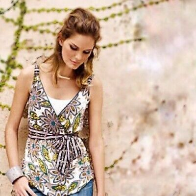 Anthropologie C. Keer Laws of Nature Wrap Floral Top Size Large