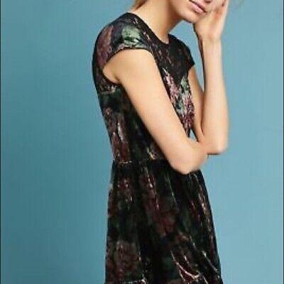Anthropologie Deletta Floral Velvet Swing Dress