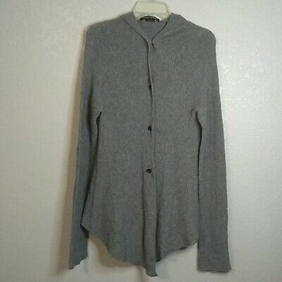 Hannes Roether hooded wool tunic sweater button down Women's SZ M