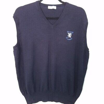 Vintage Hawick Vest Scottish Wool Cashmere Silk St Andrews Golf XL Blue V-Neck