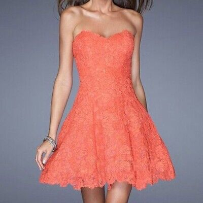 La Femme 10 Coral Strapless Lace Sweetheart Dress Homecoming Tulle Petticoat -