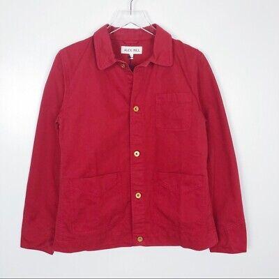 ALEX MILL Size:MEDIUM Cotton Herringbone Workers Jacket Color:Deep Red