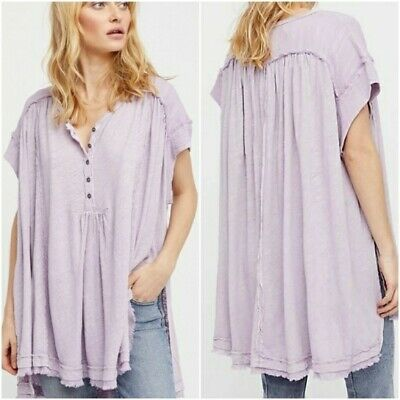 Free People Aster Henley Tunic L Lavender Linen Blend