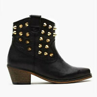 TBA To Be Announced | Black Leather Ankle Boot W Gold Studs US 6