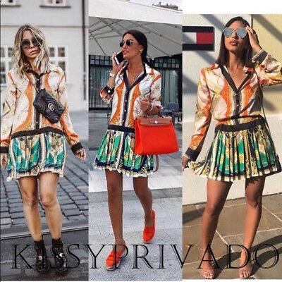 cffaadcd ZARA Green Orange Scarf Chain Print Patchwork Pleat Shirt Dress M BNWT 8010  736