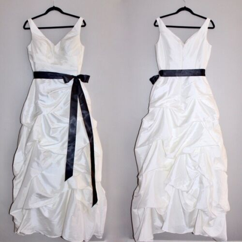 Bill Levkoff Ivory Wedding Gown with Removable Black Bow New with Tags Size 12