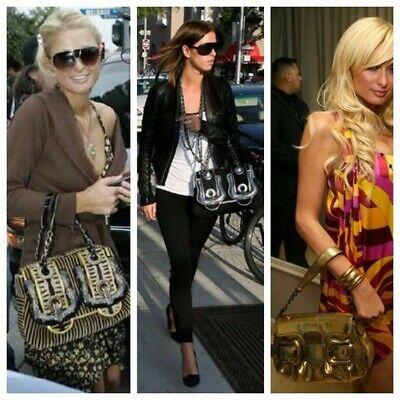 Vintage Fendi Metallic Gold Buckle Flap Baguette Leather Shoulder Bag  Buckle Baguette Handbag