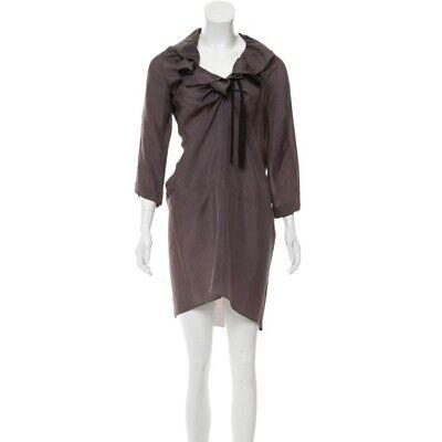 Marni Womens V Neck Ruffle Collar Abstract Lightweight Gray Sheath Dress Size 4