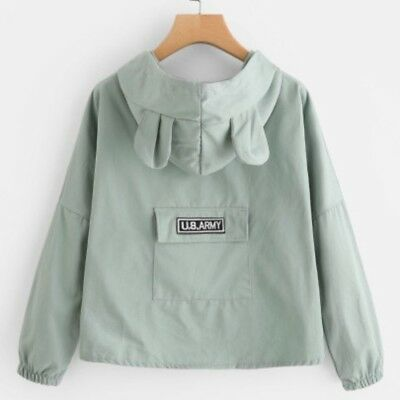 (Peach) Light Mint Color Bear Ear Back Pocket Zip Up Hooded Jacket in One Size.
