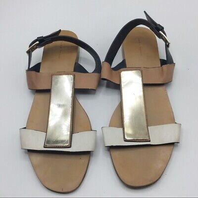[ZARA TRAFALUC]Shiny Metallic Silver & Tan Back Buckled Strap Sandals EU 40 US 9, used for sale  Shipping to Nigeria