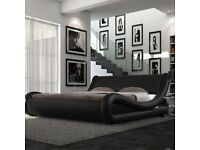 Double size bed leather with memory foam mattress.
