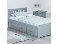 Mission Grey Storage Single Wooden Bed