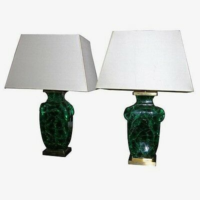 A Pair of French Emerald green colored crackel glass Prospect Lamps, Circa 1940