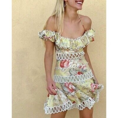 NWT Zimmermann Melody Off Shoulder Floral Linen Mini Dress Yellow White Pink 8