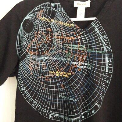 Diesel Weather Terms V Neck Top Graphic T Shirt Medium Black Radar Raining  comprar usado  Enviando para Brazil