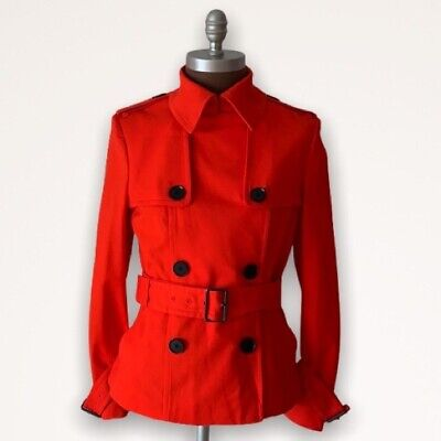 Ports 1961 Poppy Red Short Belted Trench Coat Sz 8
