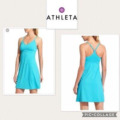 Women's ATHLETA Turquoise Blue SHOREBREAK SWIM DRESS Shelf Bra Racerback S Small for sale  Boston