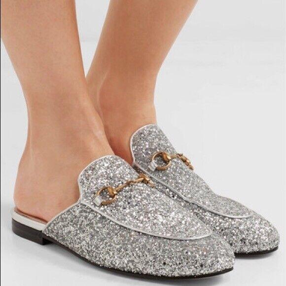GUCCI Princetown Glitter Mule Loafers Horsebit Flats Slides Shoes 40 395