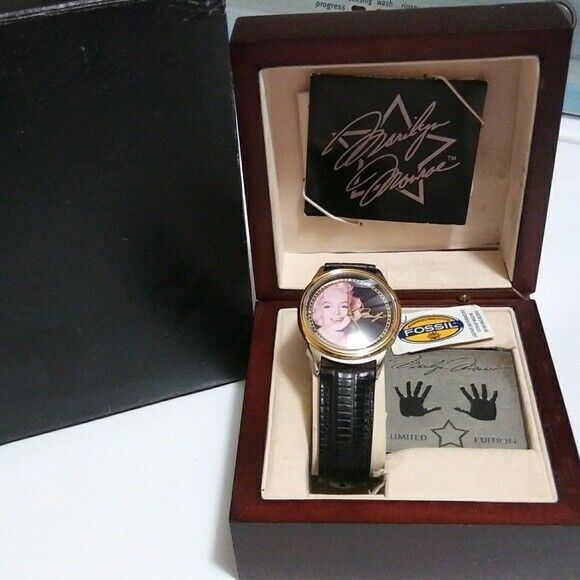 Marilyn Monroe Limited Edition Fossil watch in wooden box 1995