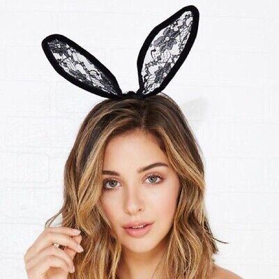 Black Bunny Ears (Sexy Black Lace Bunny Ears Headband Halloween Fashion)