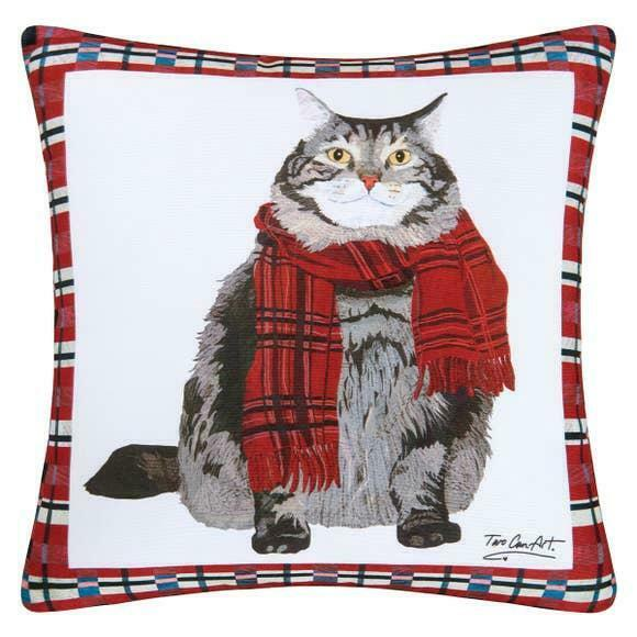 Fat Cat Tabby Indoor/Outdoor Printed Christmas Holiday Decorative Pillow 18""