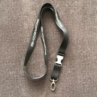 Porsche Lanyard Key Chain Black Chrome Buckle