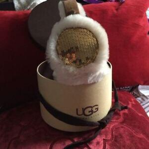 UGG Gold Glitter Earmuffs- Never worn in original box