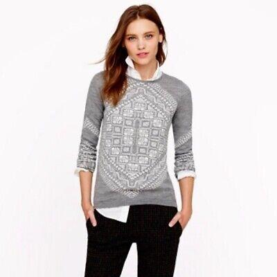 J Crew Womens Sz M Pullover Sweater Scarf Pattern Merino Wool Semi Fitted 03299
