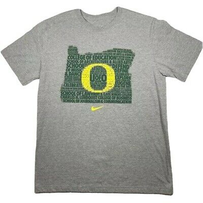 NIKE Oregon Ducks T Shirt Mens Size Large Grey Short Sleeve