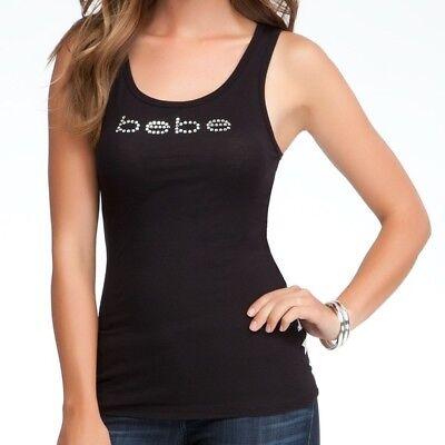 Plus Size Bebe (bebe Basic Logo Shirt Tank Top Ribbed Knit Black Plus Size 3X Black #2089P )