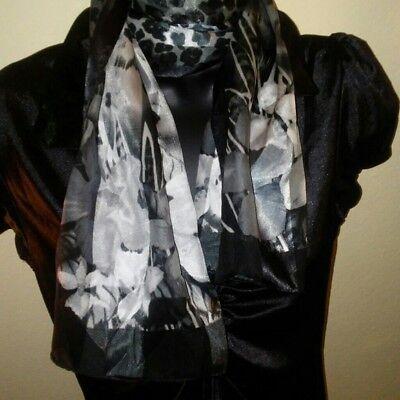 Women's Black and White Decorative Neck Scarf Silk Feel