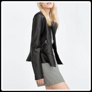 Zara Vegan peplum leather jacket xs