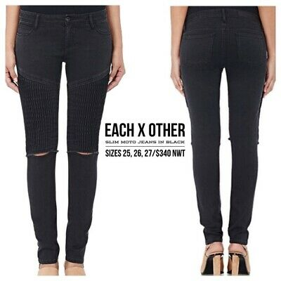 NWT $345.00 EACH X OTHER Black Moto Distressed Jeans Sz.26