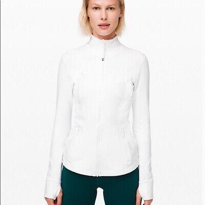 Lululemon 2 Define Jacket White Long Sleeve Thumbholes Cuffins Full Zip Fitted