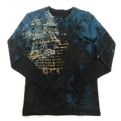 Archaic Affliction Mens Graphic Henley Shirt, Small