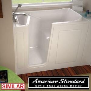 "NEW* AS GELCOAT 54"" WALK IN TUB - 115909370 - AMERICAN STANDARD WHITE INCLUDES EXTENSION TO 60"" BATH TUBS BATHTUB BAT..."