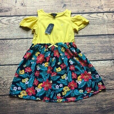Nautica Girls Size 5 Yellow Floral Cold Shoulder Dress NEW NWT