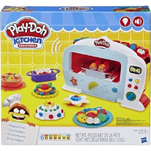 PLAY-DOH KITCHEN CREATIONS MAGICAL OVEN FOOD SET W/ 6 CANS O